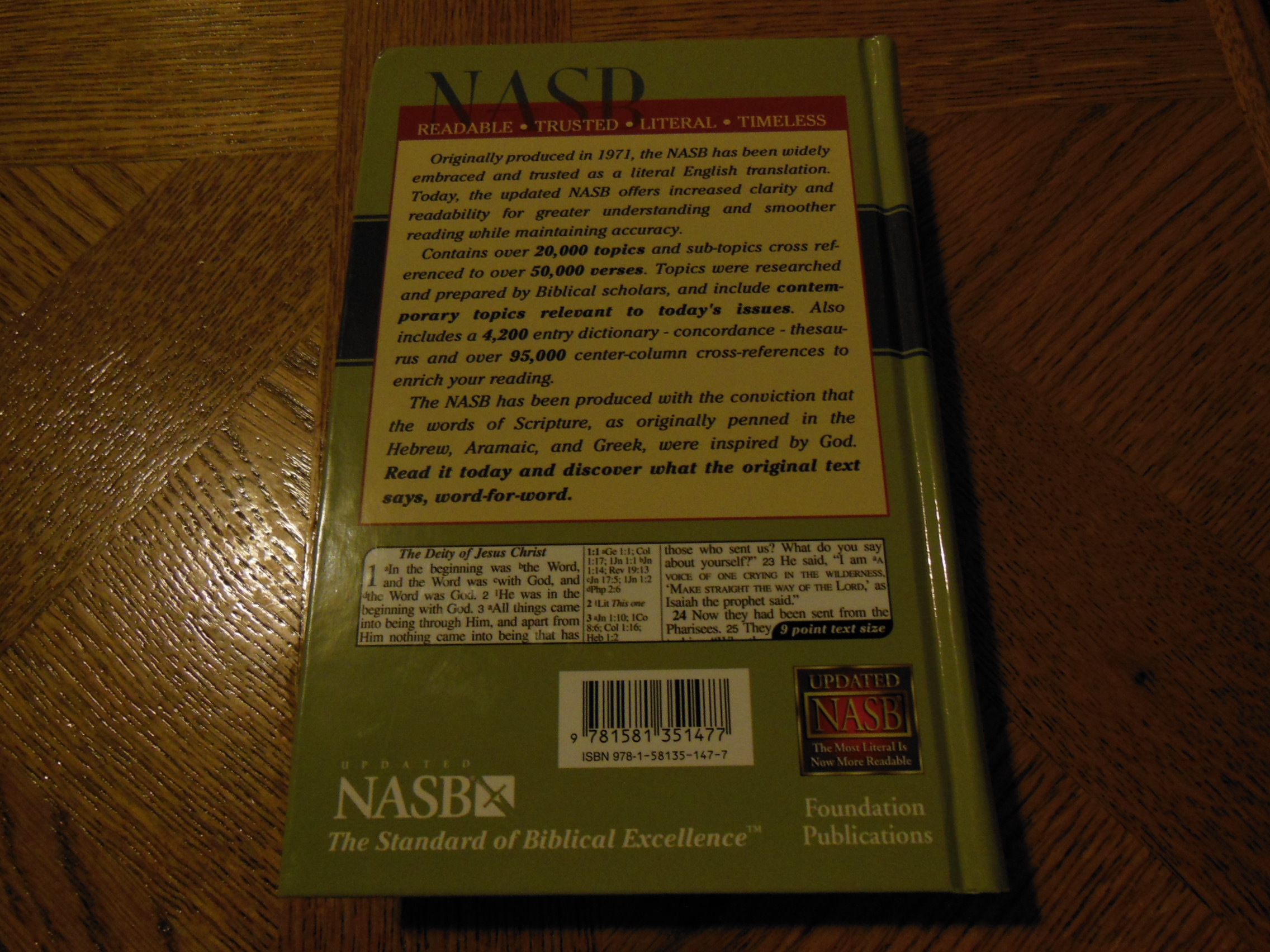 Review of the lockman foundation nasb topical reference for New american standard bible red letter edition